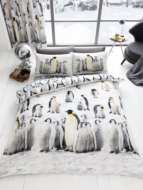 3D Penguins Double Duvet Cover and Pillowcase Set