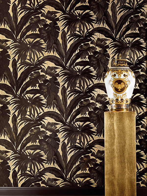 Price Right Home Versace Giungla Palm Leaves Wallpaper - Black and Gold - 10m x 70cm