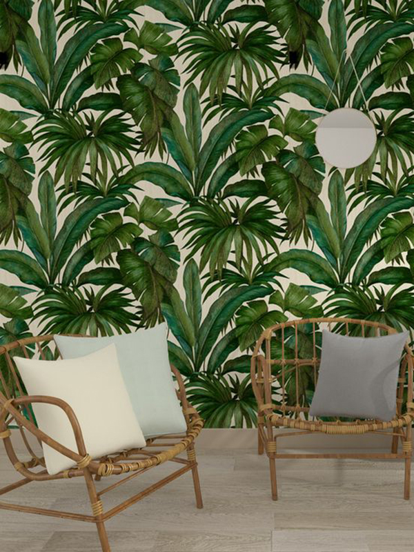 Price Right Home Versace Giungla Palm Leaves Wallpaper - Green and Cream - 10m x 70cm