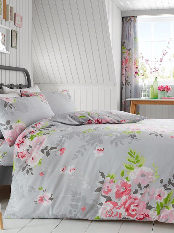 alice floral double duvet cover and pillowcase set  grey and pink