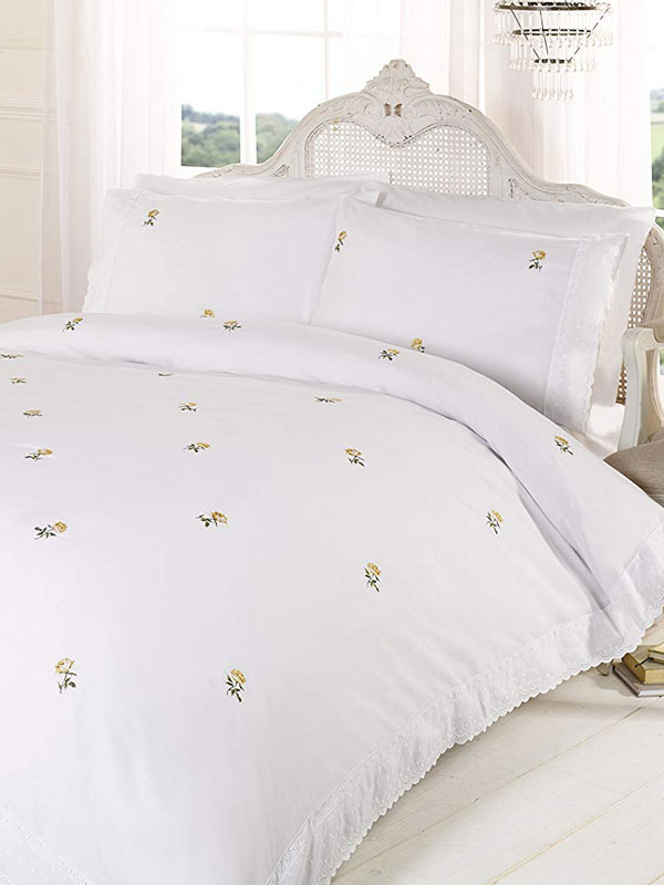 Alicia Floral White / Yellow Super King Duvet Cover and Pillowcase Set