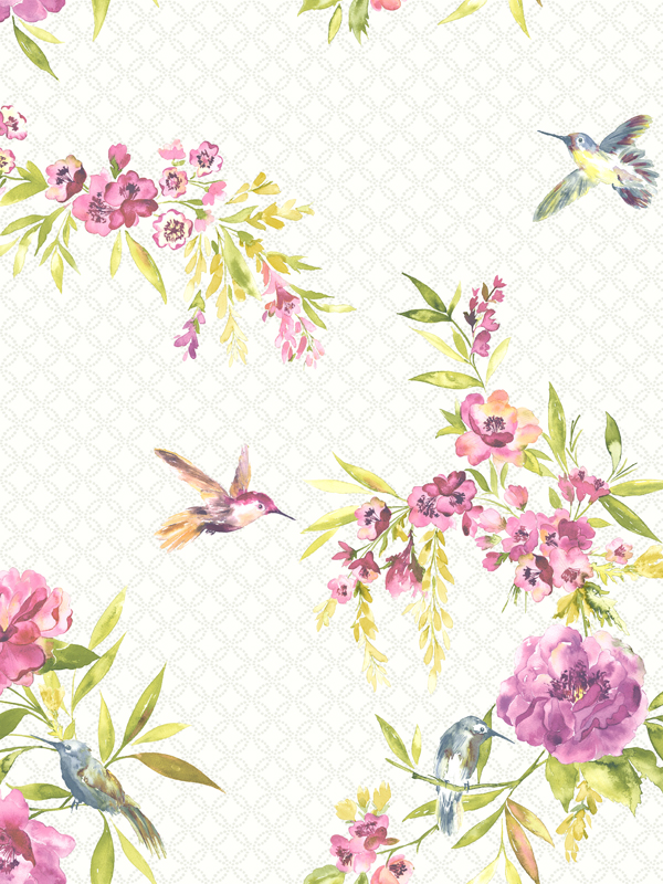 Amaya Birds Wallpaper Pink and Lime 11482