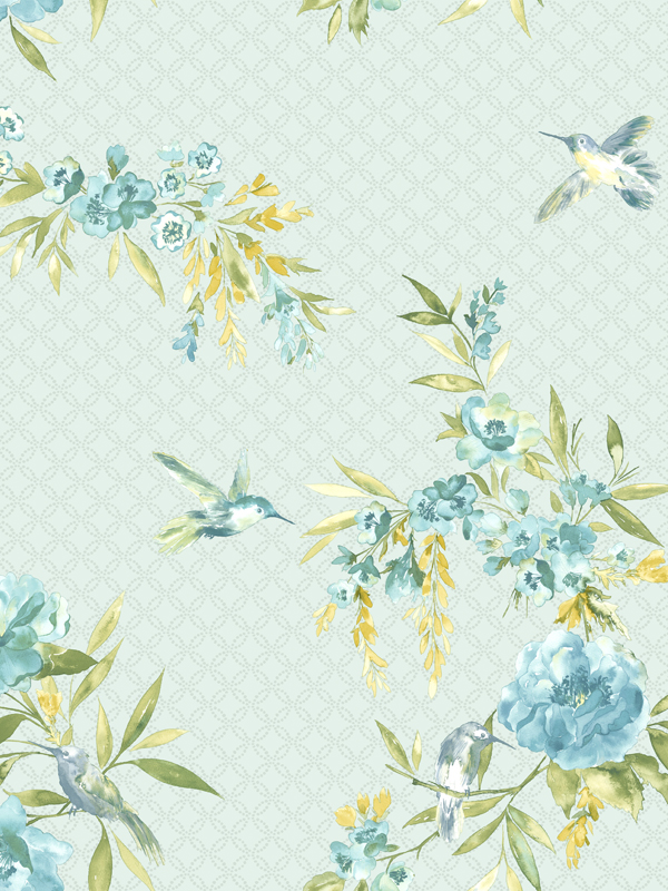 Amaya Birds Wallpaper Teal and Blue 11483