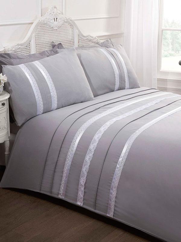 Annabella Silver Double Duvet Cover And Pillowcase Set