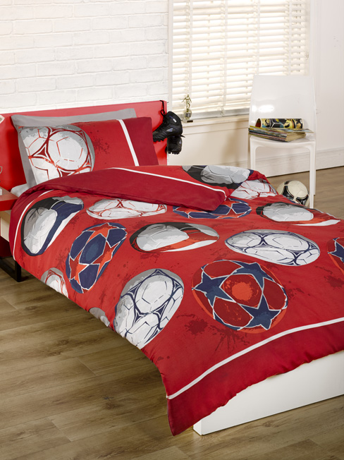Football Double Duvet Cover and Pillowcase Set - Red