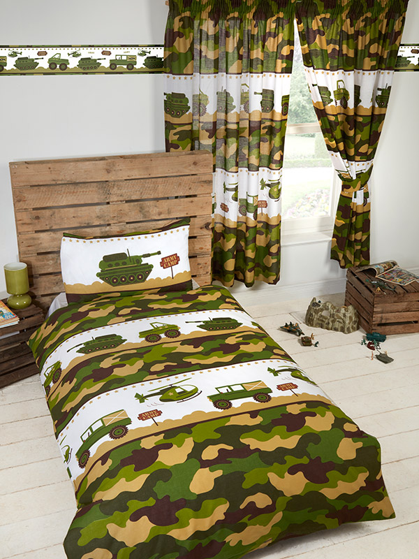 army camp camouflage junior toddler duvet cover and pillowcase set