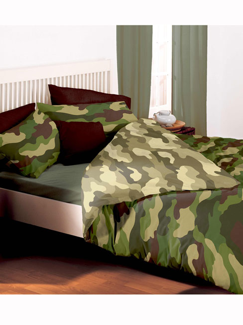 Army Camouflage Reversible Double Duvet Cover and Pillowcase Set