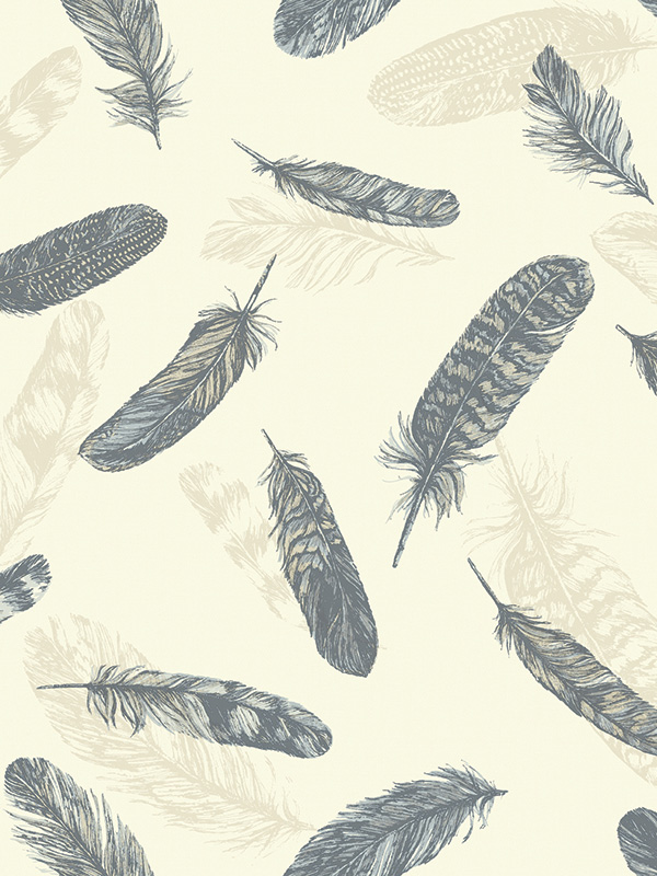 Feather Plume Wallpaper Blue and Cream Arthouse 252801