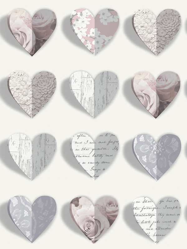 Price Right Home Olivia Hearts Wallpaper - Blush - 669701