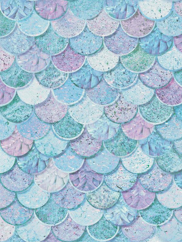 Mermazing Mermaid Scales Glitter Wallpaper - Ice Blue and Aqua -