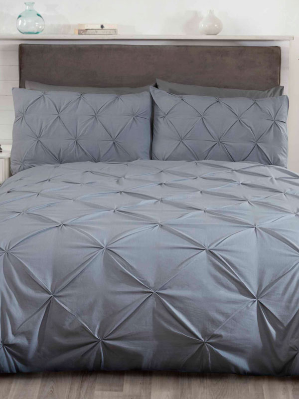 Balmoral Pin Tuck Grey Super King Duvet Cover and Pillowcase Set