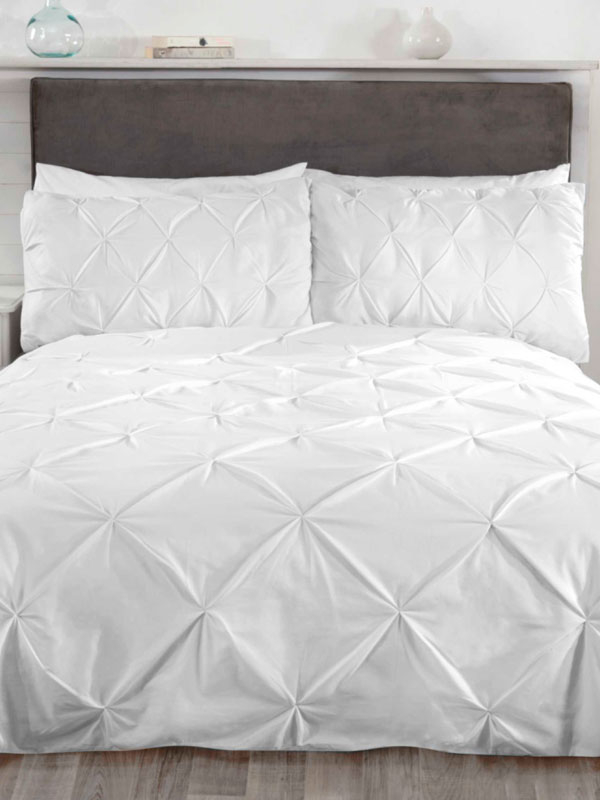 Balmoral Pin Tuck White Super King Duvet Cover and Pillowcase Set