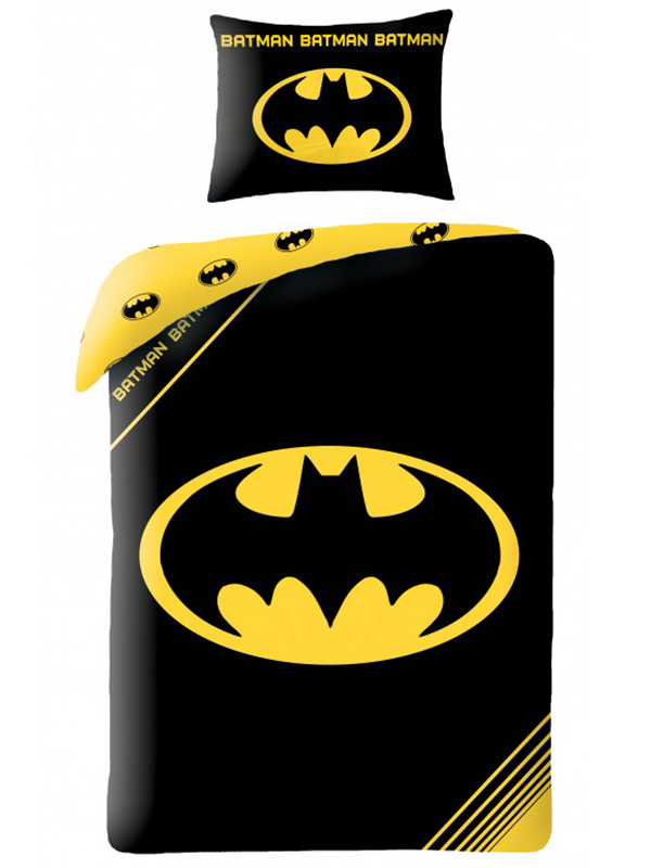 Batman Logo Black Single Duvet Cover and Pillowcase Set thumbnail