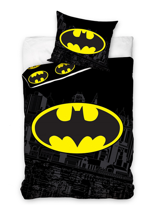 Batman Logo Single Cotton Duvet Cover and Pillowcase Set