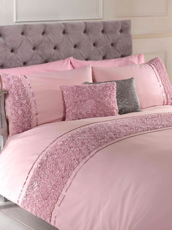 Limoges Rose Ruffle Blush Pink Double Duvet Cover and Pillowcase Set