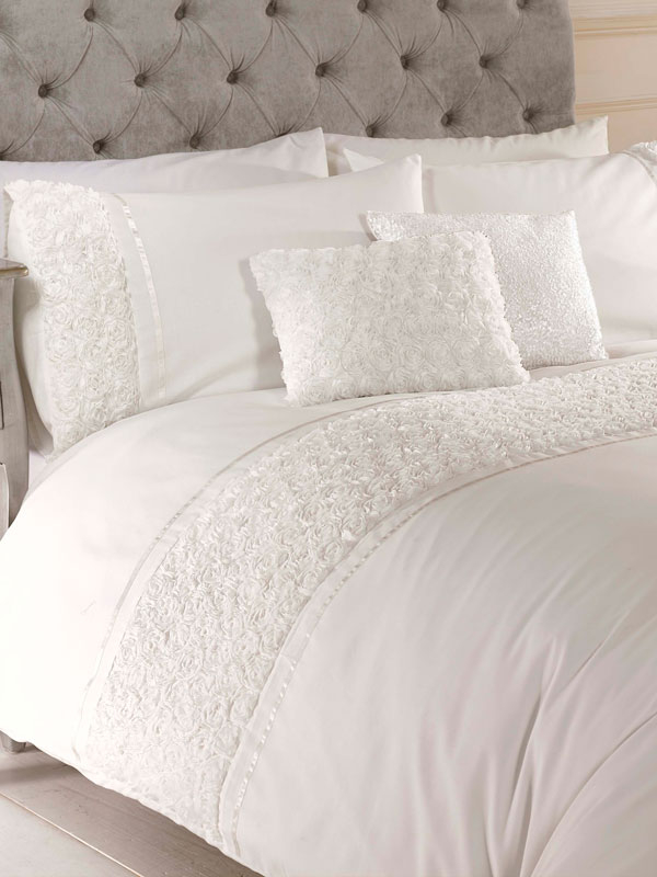 Limoges Rose Ruffle Cream King Size Duvet Cover and Pillowcase Set