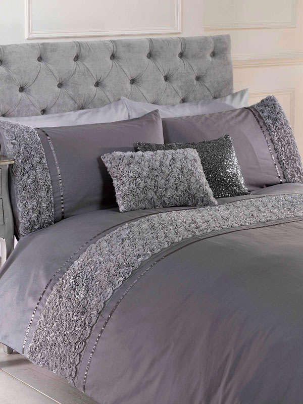 Limoges Rose Ruffle Grey Double Duvet Cover and Pillowcase Set