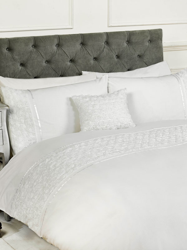 Limoges Rose Ruffle White King Size Duvet Cover and Pillowcase Set