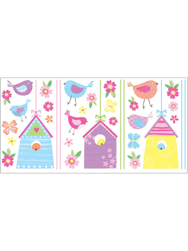 Bird Houses Wall Stickers 35 pieces