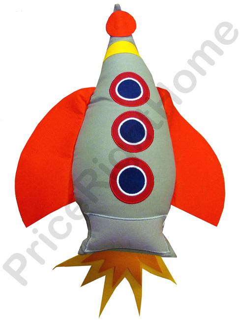 Blast Off Rocket Shaped Cushion