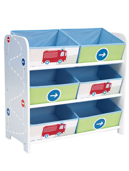 Boys Vehicles 6 Bin Storage