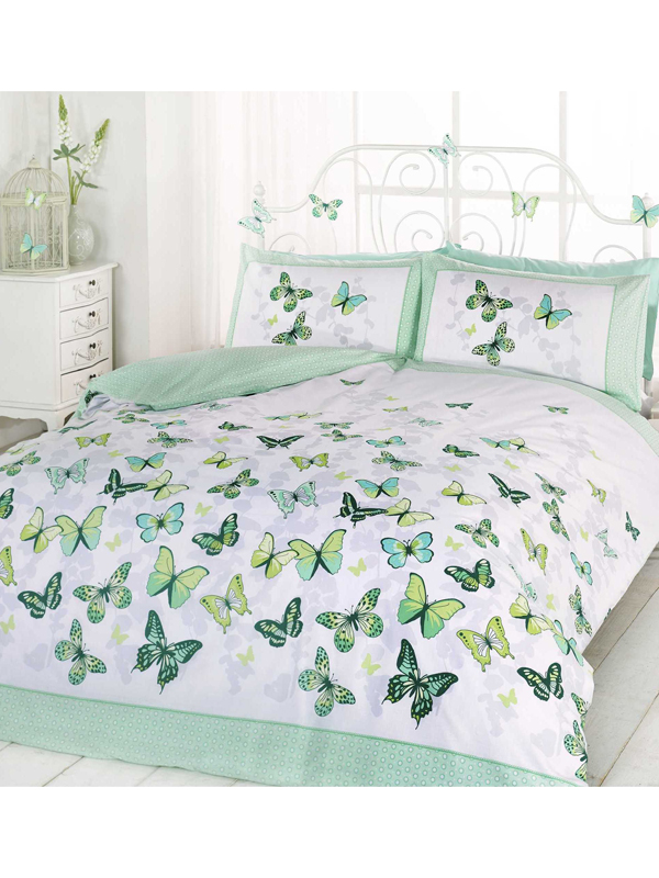 butterfly flutter double duvet cover and pillowcase set  green