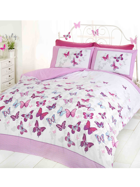 butterfly flutter king size duvet cover and pillowcase set  pink