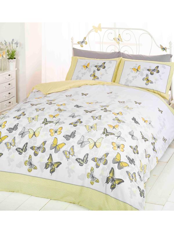 butterfly flutter single duvet cover and pillowcase set  lemon