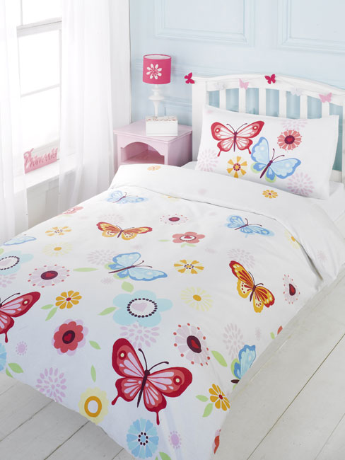 butterfly single duvet cover and pillowcase set  white