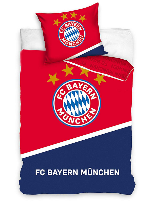 FC Bayern Munich Red and Blue Single Cotton Duvet Cover Set - European