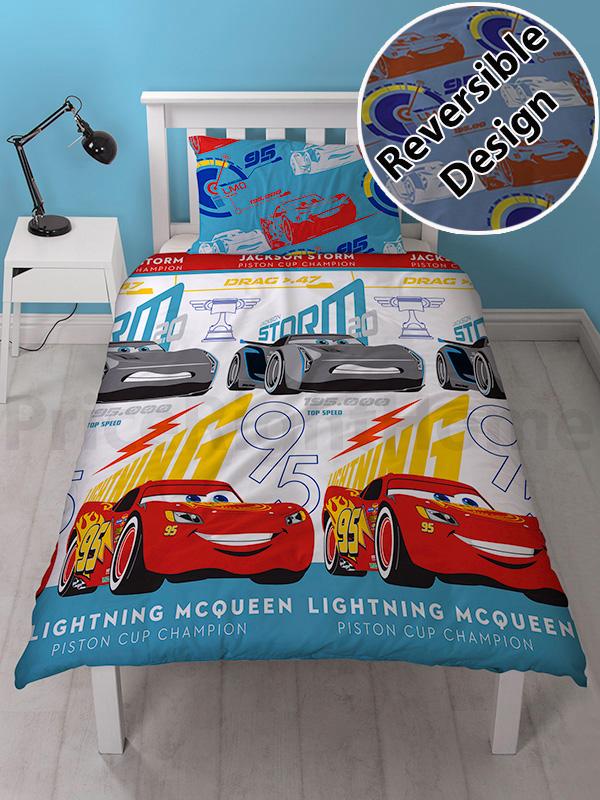 disney cars 3 lightning single duvet cover set  rotary design