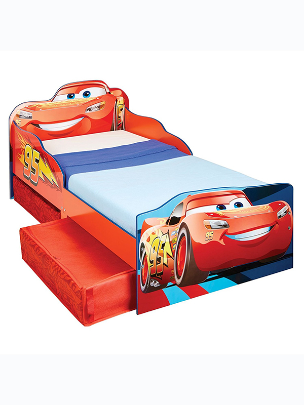 Disney Cars Lightning McQueen Toddler Bed with Sprung Mattress and