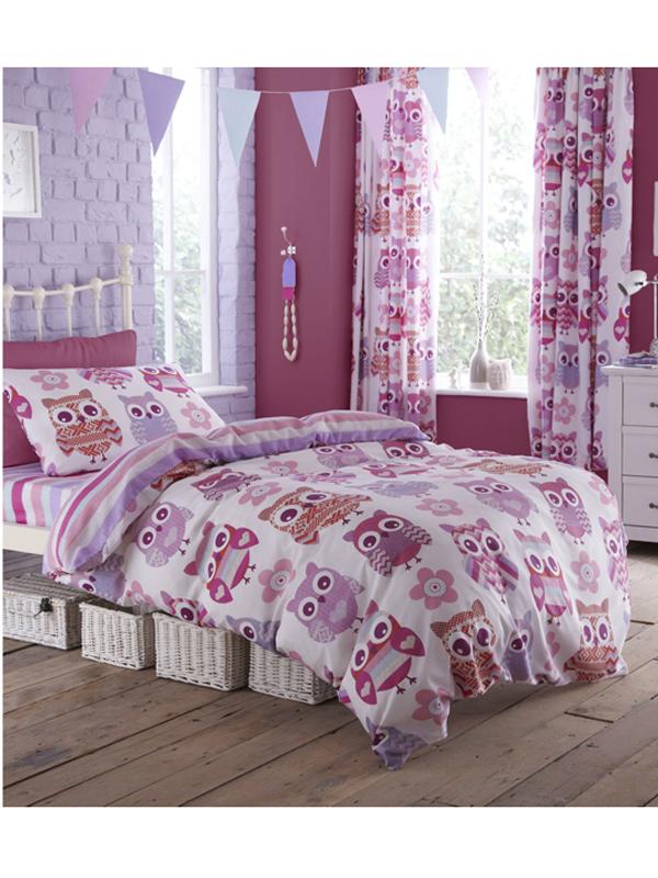 Bed linen Catherine Lansfield Owl Single Duvet Cover & Pillowcase Set