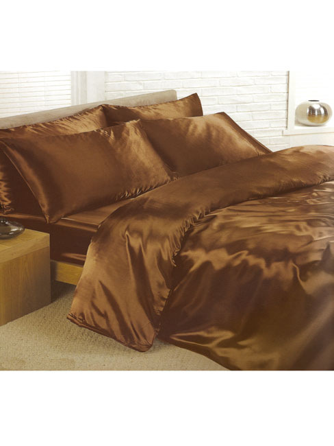 chocolate satin double duvet cover, fitted sheet and 4 pillowcases