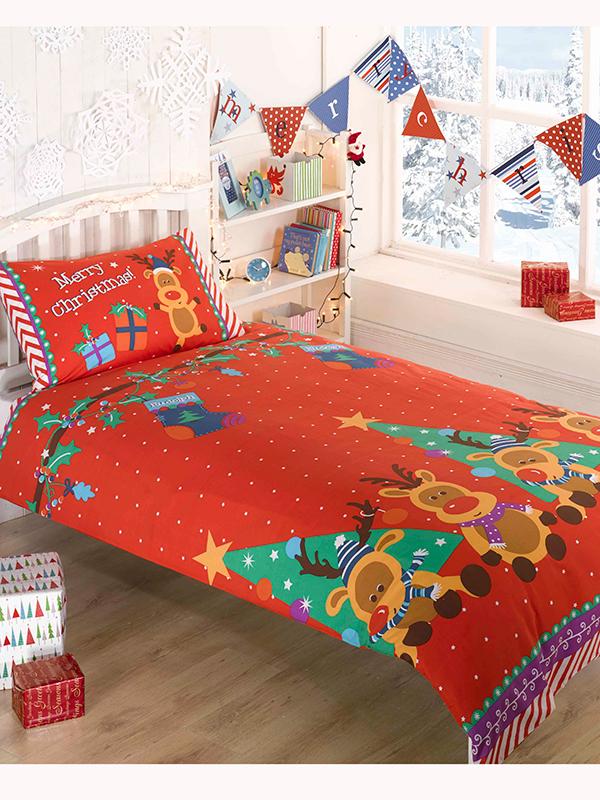 christmas reindeer single duvet cover and pillowcase set