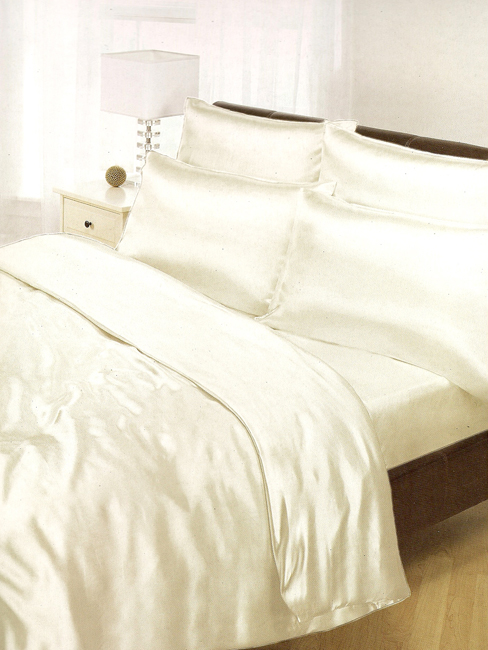cream satin duvet cover, fitted sheet and pillowcases bedding set
