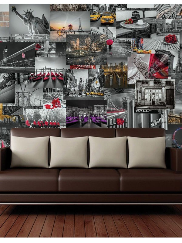 Creative Collage City Scapes Designer Wall Mural 64 Piece