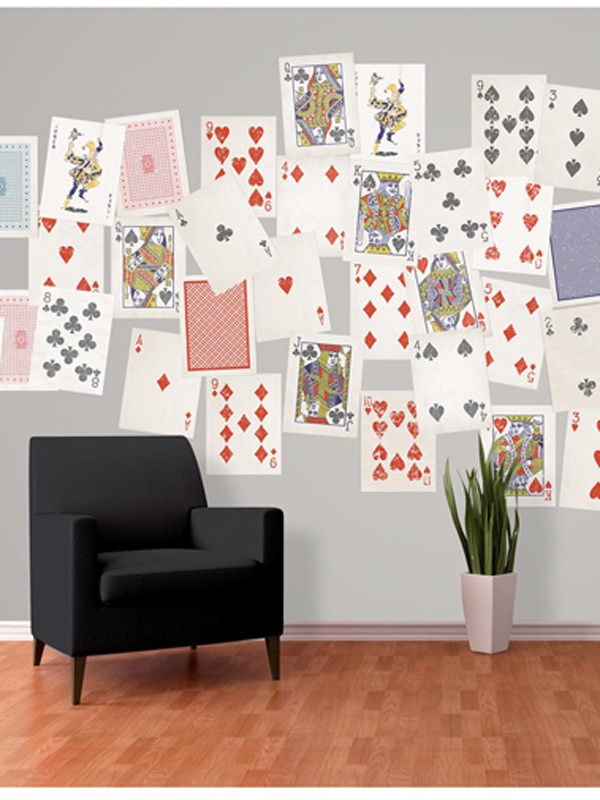 Creative Collage Playing Cards Designer Wall Mural 64 Piece