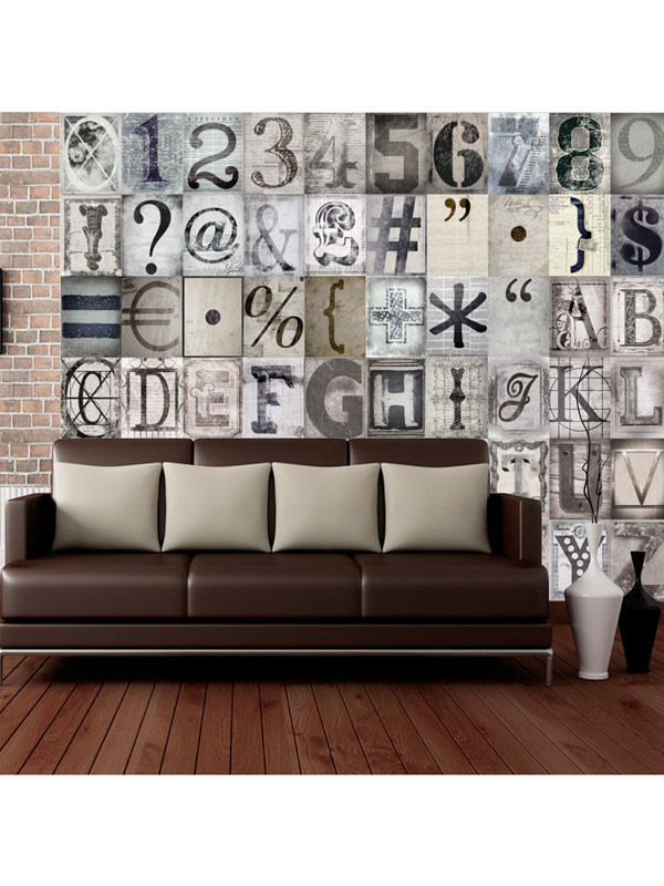 Creative Collage Typography Designer Wall Mural 64 Piece
