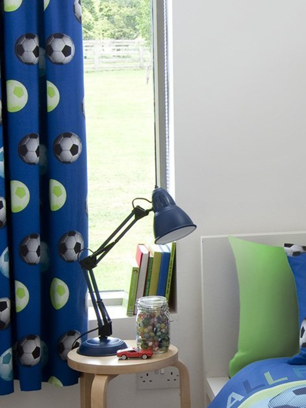 Curtains, Blinds & Shutters Catherine Lansfield Lined Football Curtains - Blue
