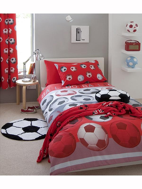 Children's Bedding Catherine Lansfield Football Red Single Duvet Cover Set