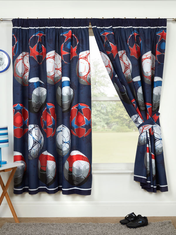 Blue Football Themed Lined Curtains