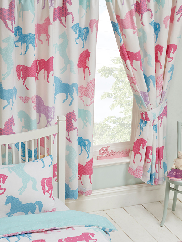 Patchwork Ponies Lined Curtains