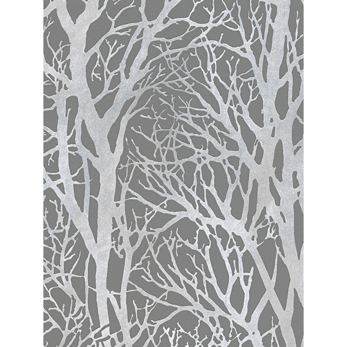 Tree branches wallpaper dark grey and silver as creation for Papier peint blanc argent