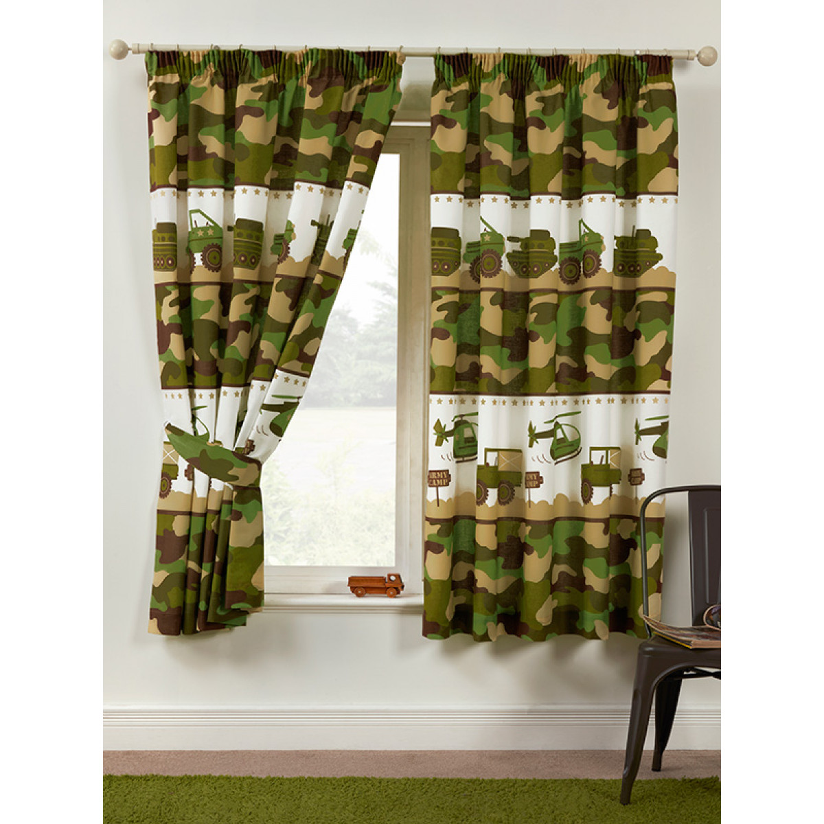 Army Camp Lined Curtains Bedroom Kids Camouflage
