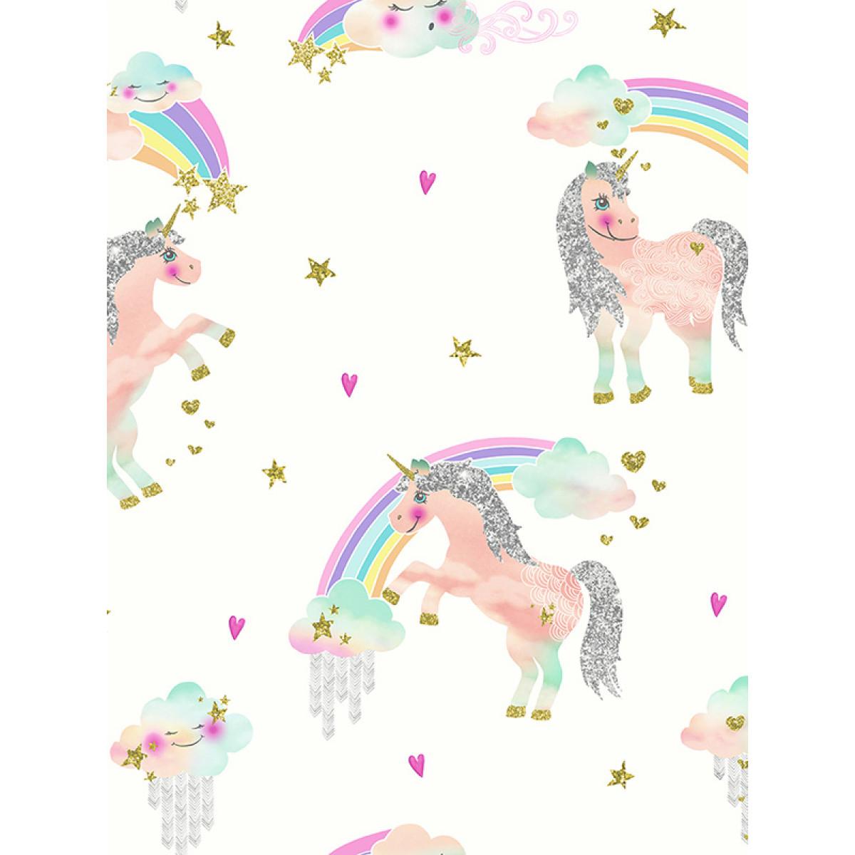 Spiderman Bedroom Decor Rainbow Unicorn Glitter Wallpaper White Arthouse 696109