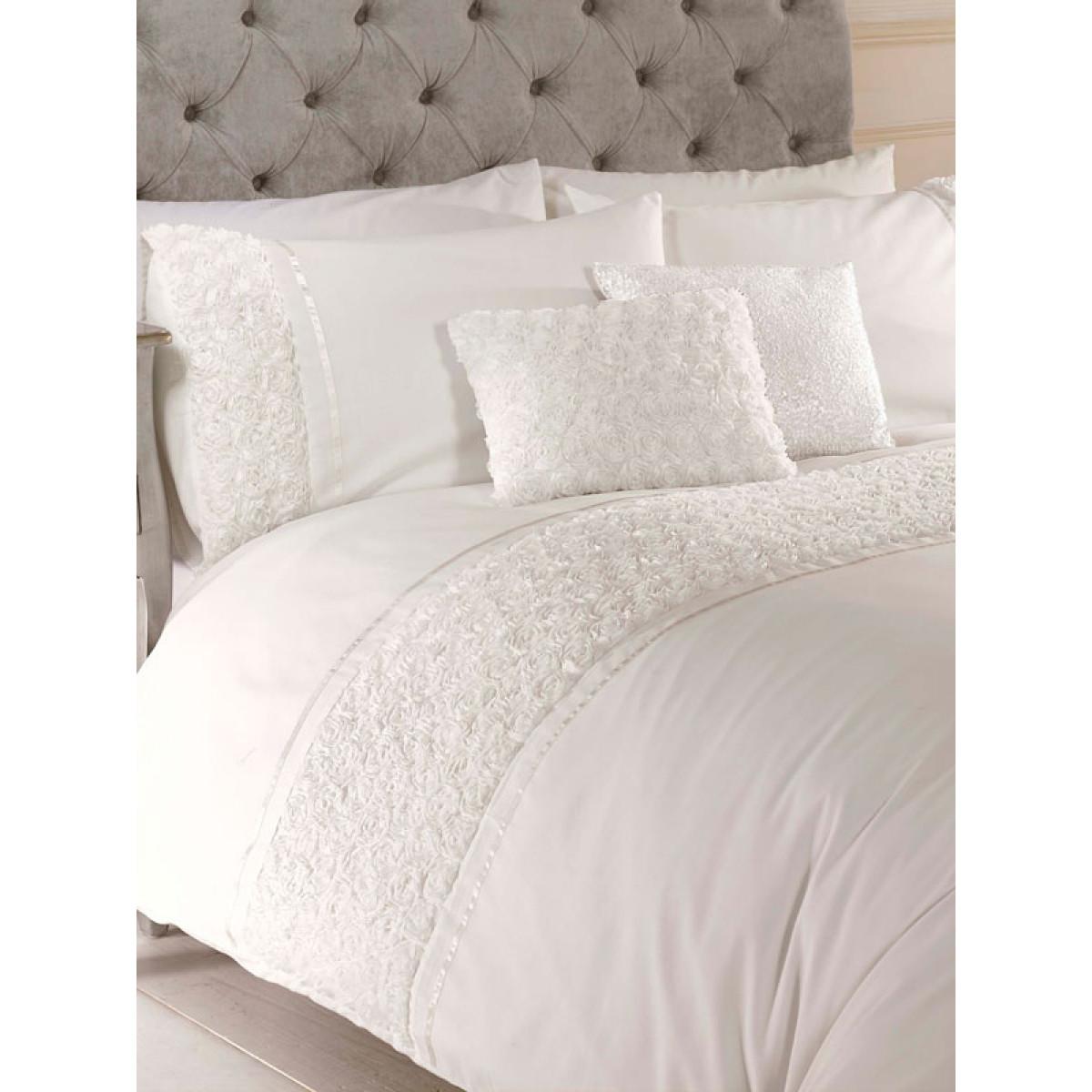 969c7bce32d1 Limoges Rose Ruffle Cream King Size Duvet Cover and Pillowcase Set