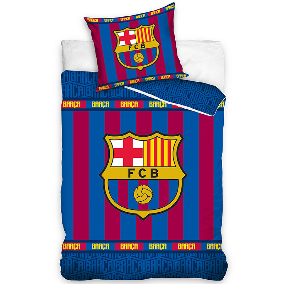 Fc Barcelona Stripe Single Duvet Cover Set Bedroom