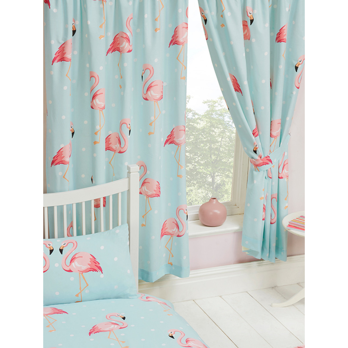 Fifi Flamingo Lined Curtains Bedroom Kids Polka Dot