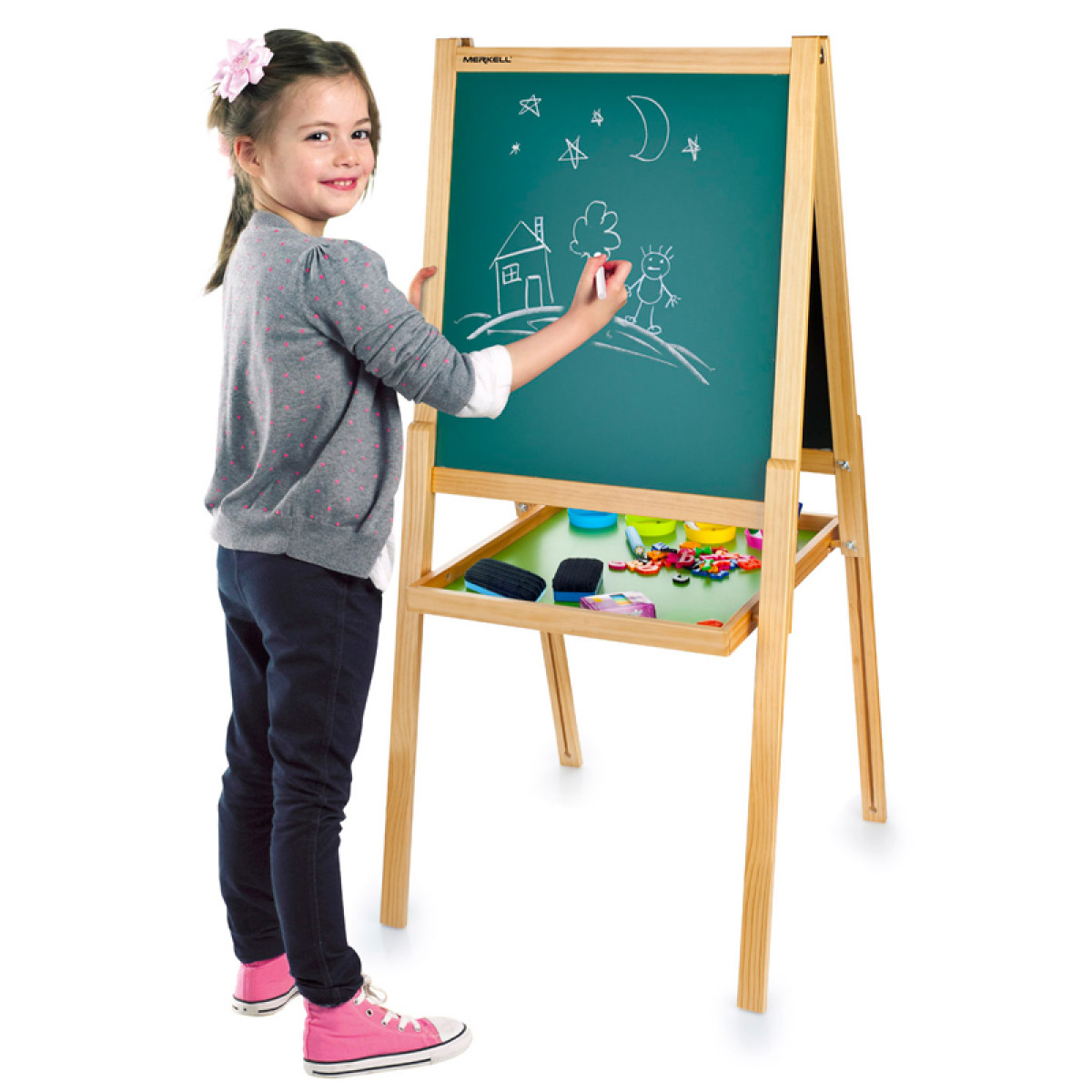Deluxe Double Sided Black And White Board Easel With